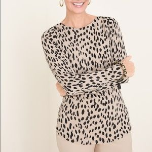 Chico's Animal Print Top L NWT